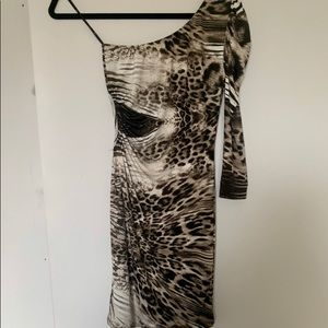 XXI Leopard Print One Shoulder Dress with Cutout